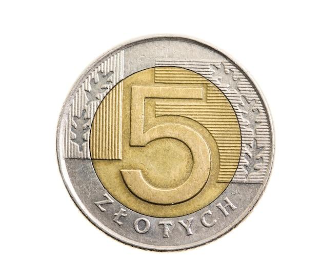 Fotografierte nahaufnahme auf weißer münze, polnischer zloty