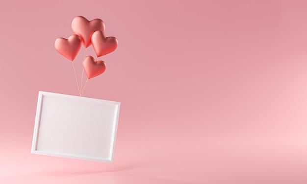 Fotorahmen, der mit liebesherz-ballon-modellvorlage fliegt kopieren sie raum-3d-rendering