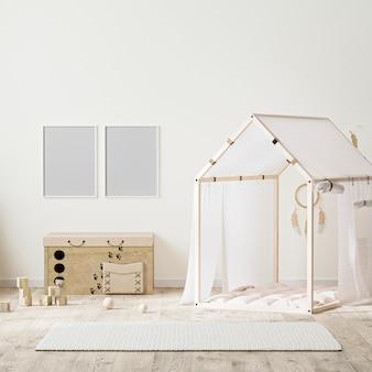 Fotorahmen im indischen stil kinderzimmer interieur mit zelt, kinderkommode und spielzeug, 3d-rendering