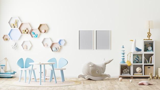 Fotorahmen im kinderspielzimmer mit spielzeug, kindermöbel, tisch mit stühlen, regalen, skandinavischer stil, 3d-rendering