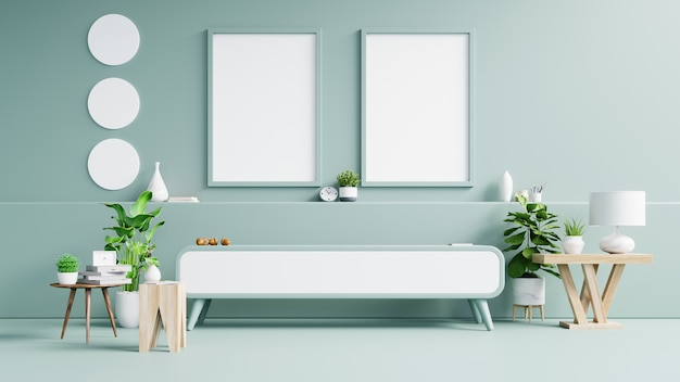 Fotorahmen oder wandposter auf kabinett in modernem interieur