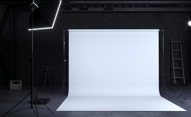 Fotostudio mit weißem hintergrund, industriebau