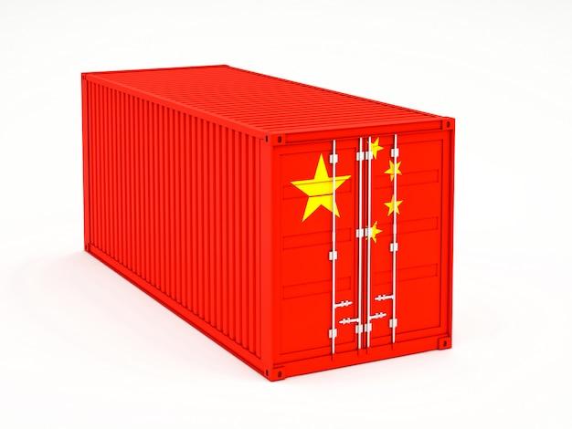 Frachtcontainer mit dem asiatischen marktkonzept der chinesischen flagge
