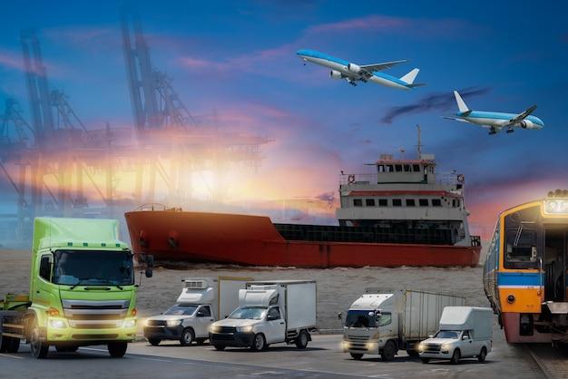Frachtflugzeug, das über containerdock und schiffshafen fliegt, für transport- und frachtlogistik
