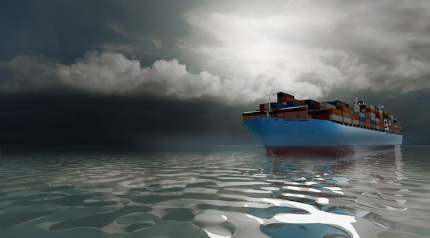 Frachtschifffahrt und internationale logistik, 3d-illustrationen rendering