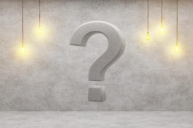 Fragezeichen auf einem dachbodenhintergrund, 3d-wiedergabe