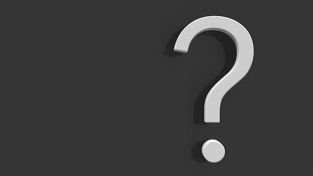 Fragezeichen auf grauem hintergrund 3d