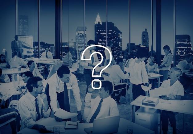Fragezeichen-ikone, die problem-lösungs-konzept löst