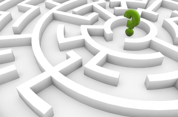 Fragezeichen in einem labyrinth