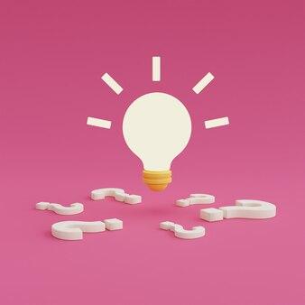 Fragezeichen mit glühbirne auf rosa hintergrund