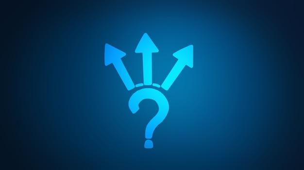 Fragezeichen und drei pfeile