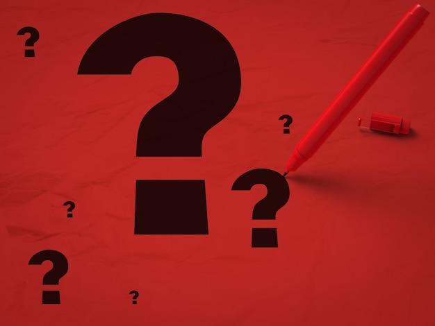 Fragezeichen und roter stift auf rotem grund