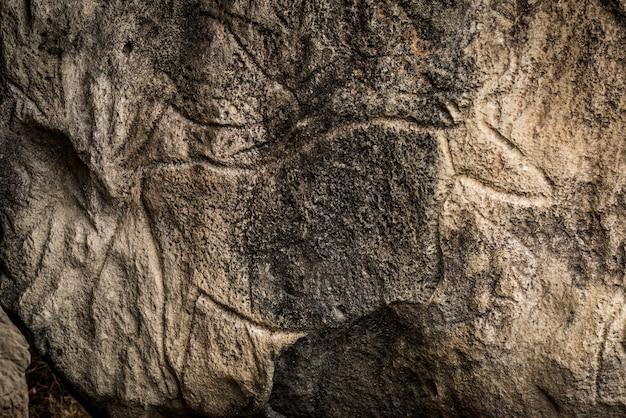 Fragment einer petroglyphe in gobustan,