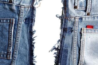 Fragment von Jeans, lokalisiert auf weißem Hintergrund
