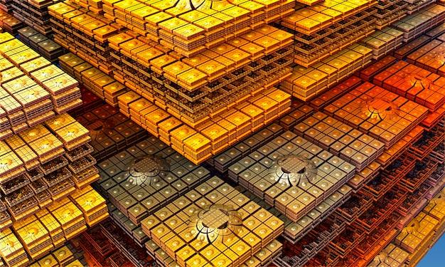 Fraktal vieler quadratischer goldplatten. computergeneriertes 3d-fraktal. fraktale darstellung der architektur. orientalische architektur. 3d-rendering.