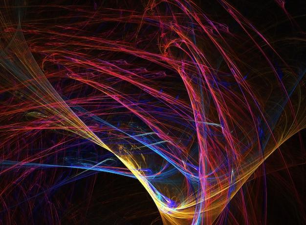 Fraktale abstrakte runde kurven und linien auf schwarzem hintergrund