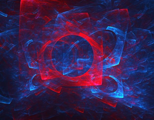 Fraktale farbige abstrakte runde kurven und linien auf schwarzem hintergrund