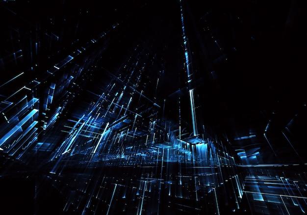 Fraktaler hintergrund zur verwendung in kreativitäts- und designprojekten. technologisches fraktal. abstrakte 3d-illustration