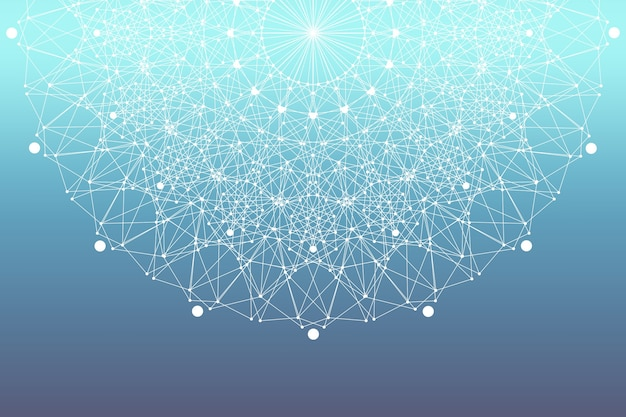 Fraktales element mit verbundenen linien und punkten. big-data-komplex. partikelverbindungen. netzwerkverbindung, linienplexus. minimalistisches chaotisches design, illustration.