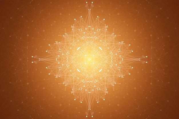 Fraktales element mit zusammengesetzten linien und punkten. big-data-komplex. grafische abstrakte hintergrundkommunikation. minimales array. digitale datenvisualisierung. dynamische bewegungsillustration.