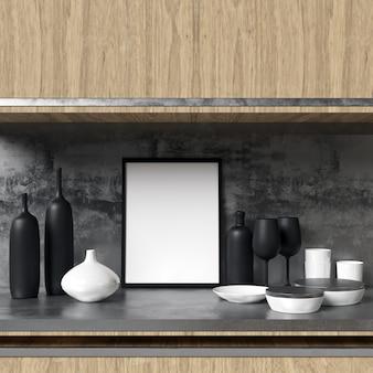 Frame mockup auf küchenschrank mit dekorationen