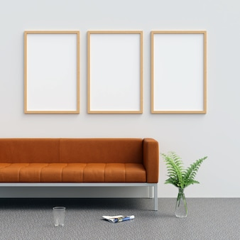 Frame mockup im wohnzimmer mit dekorationen