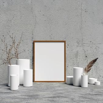 Frame mockup mit weißen innendekoration vasen