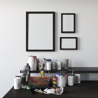 Frames mockup mit malerei werkzeug dekoration