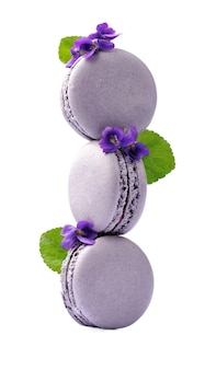 Franch makronenkuchen mit violetter blume auf weißem hintergrund.