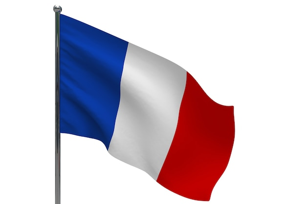 Frankreich flagge auf der pole. fahnenmast aus metall. nationalflagge von frankreich 3d-illustration auf weiß