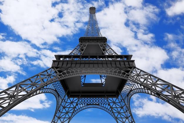 Frankreich-konzept. paris-eiffelturm auf einem bewölkten hintergrund des blauen himmels. 3d-rendering