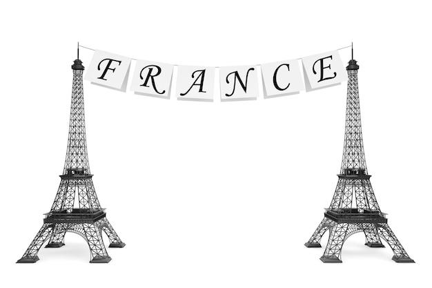 Frankreich-tourismus-konzept. frankreich-schild am seil mit eiffeltürmen auf weißem hintergrund
