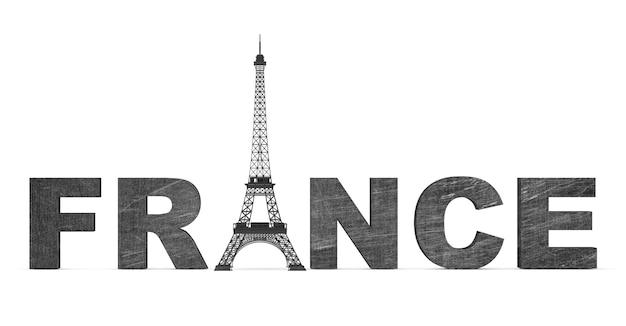 Frankreich-tourismus-konzept. frankreich-schild mit eiffelturm auf weißem hintergrund