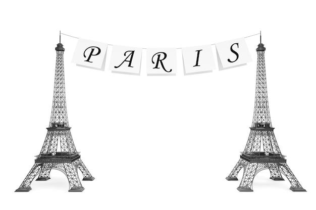 Frankreich-tourismus-konzept. paris-schild am seil mit eiffelturm auf weißem hintergrund