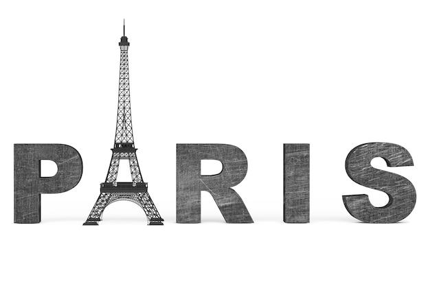 Frankreich-tourismus-konzept. paris-schild mit eiffelturm auf weißem hintergrund