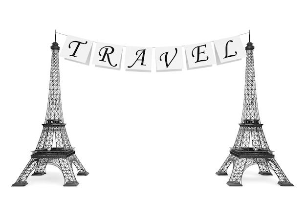 Frankreich-tourismus-konzept. reiseschild am seil mit eiffeltürmen auf weißem hintergrund