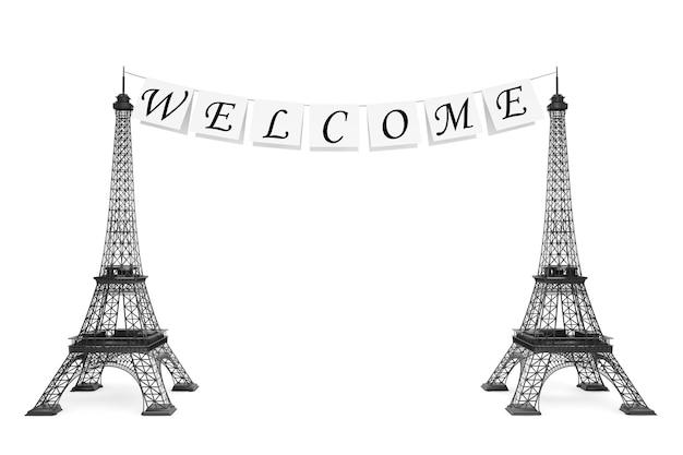 Frankreich-tourismus-konzept. willkommensschild am seil mit eiffeltürmen auf weißem hintergrund