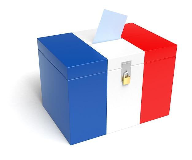 Frankreich-wahlurne mit französischer flagge. isoliert auf weißem hintergrund.