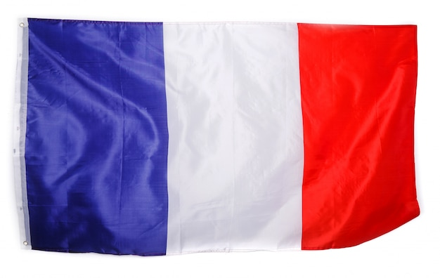 Französische flagge auf weiß