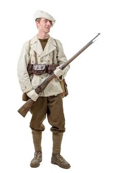Französischer infanterist während des zweiten weltkriegs