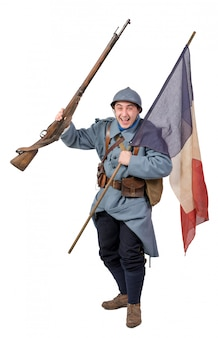 Französischer soldat, mit der markierungsfahne, getrennt auf weiß