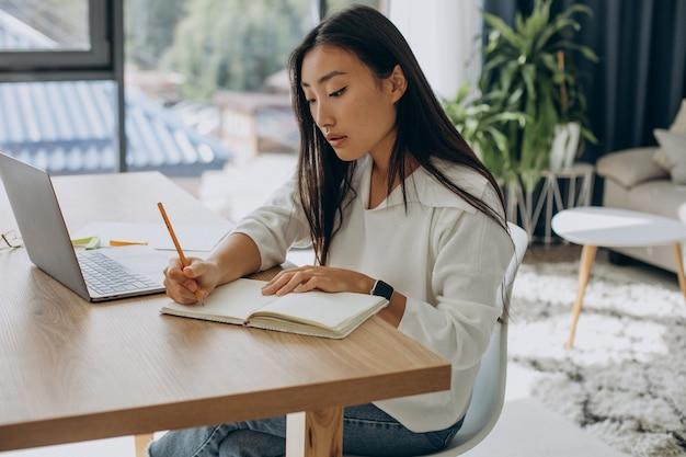 Frau arbeitet am computer am schreibtisch von zu hause aus