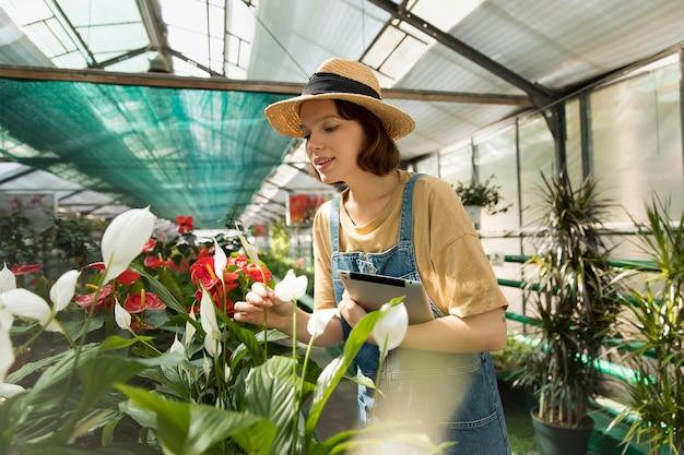 Frau arbeitet in ihrem nachhaltigen gewächshaus