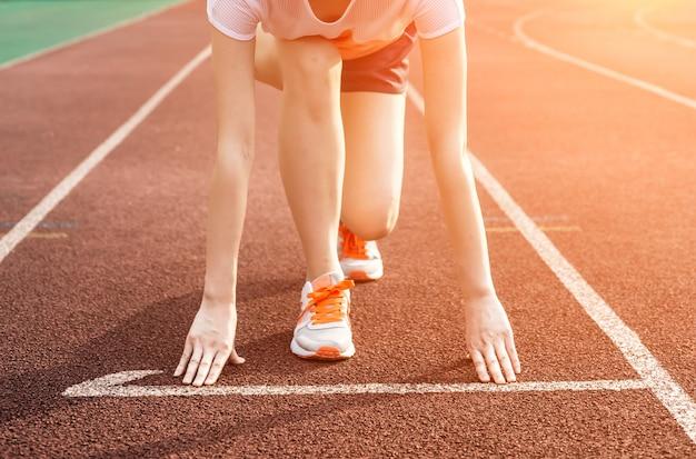 Frau bereit für run