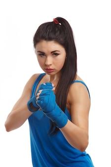 Frau bereit zu kämpfen