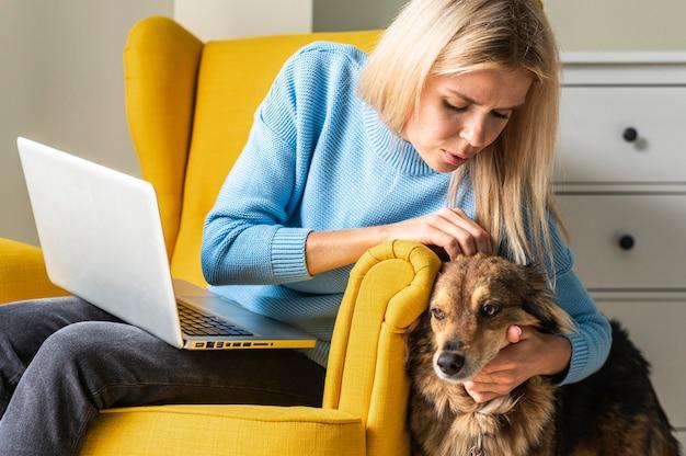 Frau, die am laptop vom sessel während der pandemie arbeitet und ihren hund streichelt