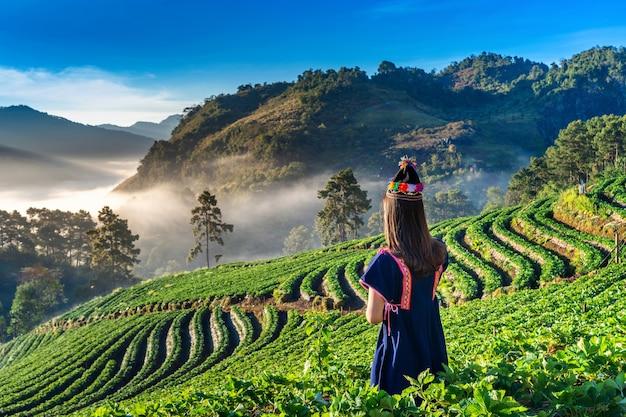 Frau, die bergstammkleid im erdbeergarten auf doi ang khang, chiang mai, thailand trägt.