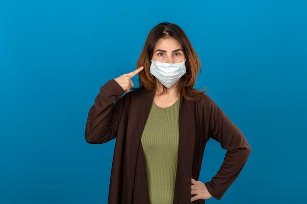 Frau, die braune strickjacke in der medizinischen schutzmaske trägt, zeigt auf maske mit ernstem gesicht, das über isolierter blauer wand steht