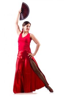 Frau, die den traditionellen spanischen tanz lokalisiert tanzt