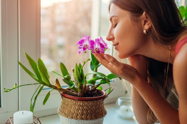 Frau, die dendrobiumorchidee auf fensterbrett riecht. hausfrau kümmert sich um heimische pflanzen und blumen.